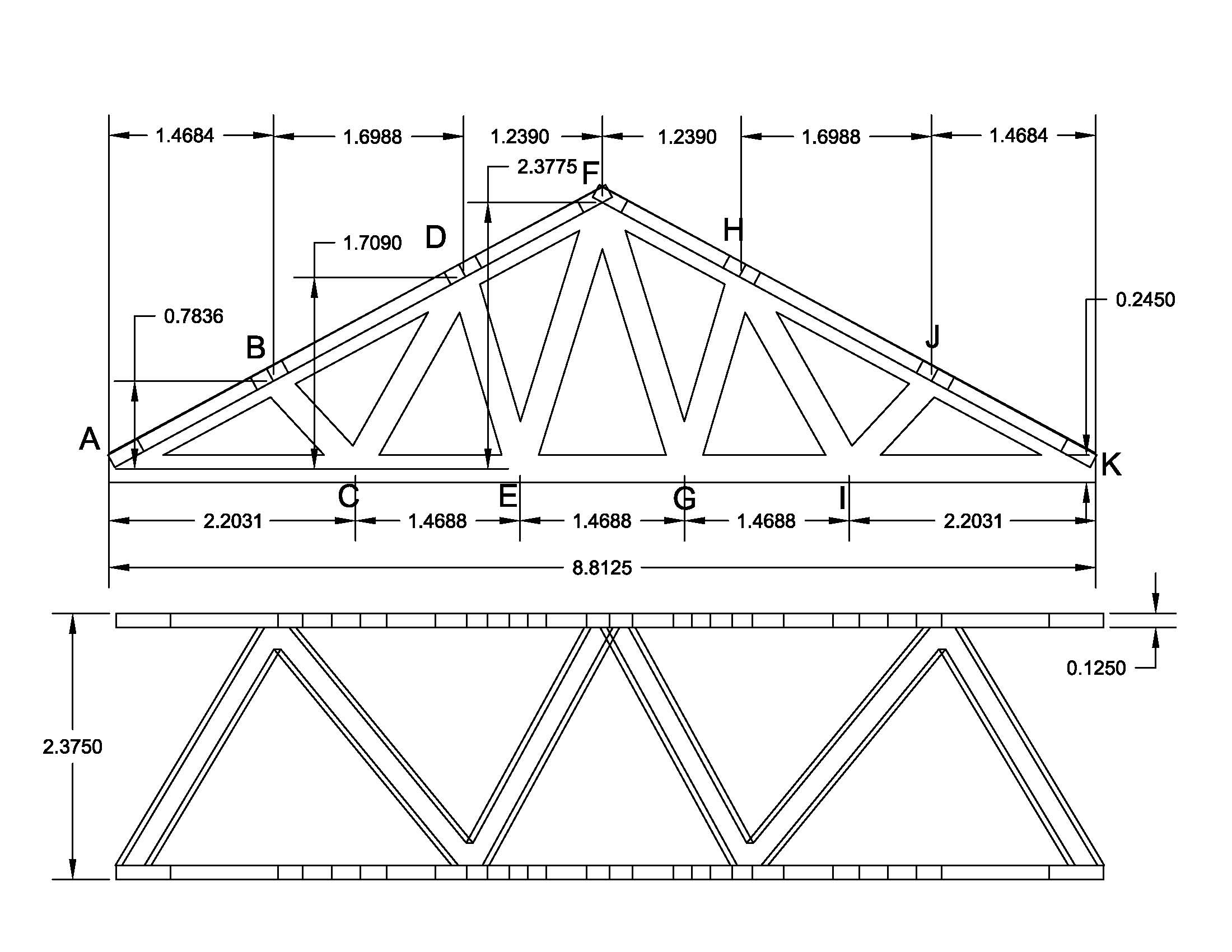 Despite the force being only at one point of the truss, I decided that I  would analyze the entire truss with a load at any given ...